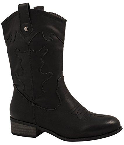 Elara Damen Cowboy Stiefel | Bequeme Lederoptik Stiefeletten | Blockabsatz Zipper | Gefüttert | chunkyrayan KA16-155SL-Schwarz-36