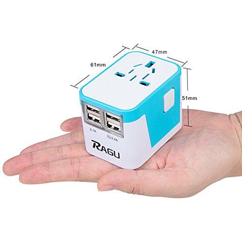 Adaptador de viaje internacional RAGU, Cargador de pared, 4 puertos de carga USB y entrada de 8 agujeros / Enchufes Mundiales (US / JP UK UE AU / CN) con fusible de seguridad y protector contra sobrecargas