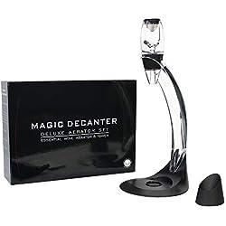 Todeco - Decanteur Aérateur à Vin, Décanteur pour Vin Rouge - Boîte: Boite cadeau - Matériau: Silicone - Classique, avec support