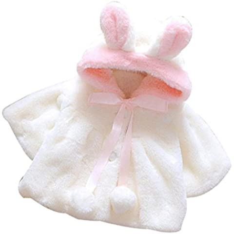 Los bebés de invierno de la piel de la chaqueta Capa Capa Caliente, Koly gruesas Ropa Caliente (70, Blanco)