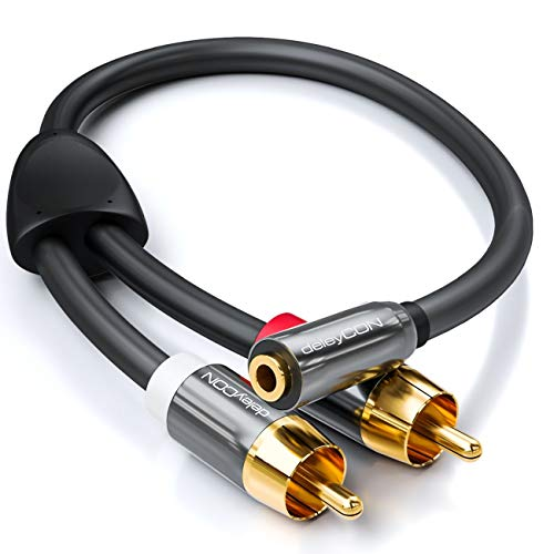deleyCON 0,2m Audio Adapter - 3,5mm Klinken Buchse zu 2X RCA Cinch Stecker aus Metall - Laptop Tablet Smartphone TV DVD Sound Box - Schwarz -