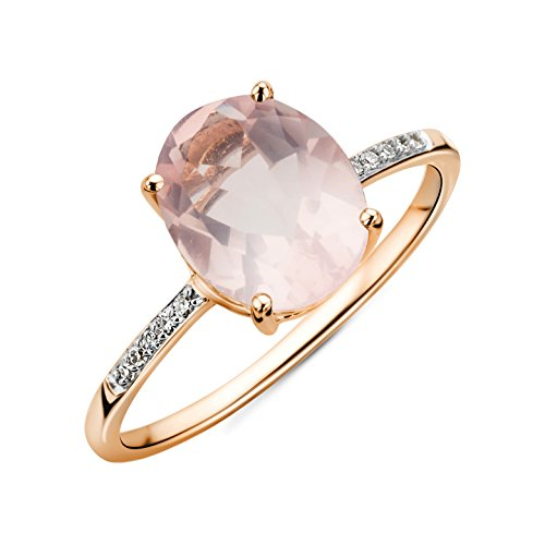 Miore Damen Ring 9 Karat 375 Gold Roser Quarz mit Diamant Brillianten Rosé, P
