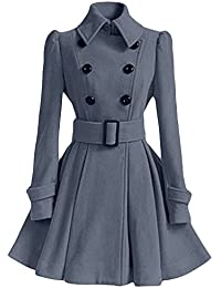 Qitun Abrigos Parka Chaquetas Ropa de Mujer Elegantes Abrigo de Lana de imitación Sudaderas Cinturón Botones
