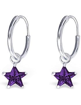 JAYARE Kinder-Creolen Sterne 925 Sterling Silber Zirkonia