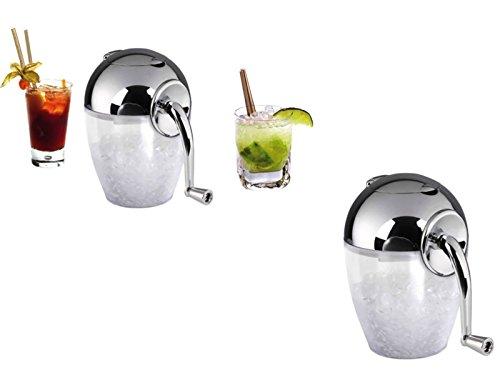 Manueller Eiscrusher Eiswürfel Zerkleinerer Ice-Crusher Edelstahl-Klingen Handkurbel (Crushed Eis, Eis-Zerhacker, Mixer, 1,2 Liter, Weiß)
