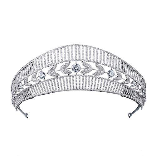roroz Braut Krone Stirnband Prom Festzüge, Hochzeit Stirnband Schleier Stirnband Zubehör koreanischen Stil Kristall Strass Braut Tiara Silber,Copper