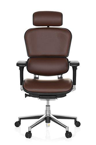 hjh OFFICE 652252 Luxus Chefsessel ERGOHUMAN Echtes Leder Braun hochwertiger Bürodrehstuhl mit Vollausstattung