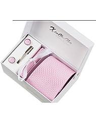 Cercle rose Ensemble Cravate étanche d'homme , Mouchoir, épingle et boutons de manchette coffret cadeau