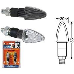 Suzuki GSF 600 Bandit S 2000-2005 Paire de Clignotants à LED 12 V Carbone Look homologué pour Moto Lampe 90100 Atom lumière Orange Indiquant