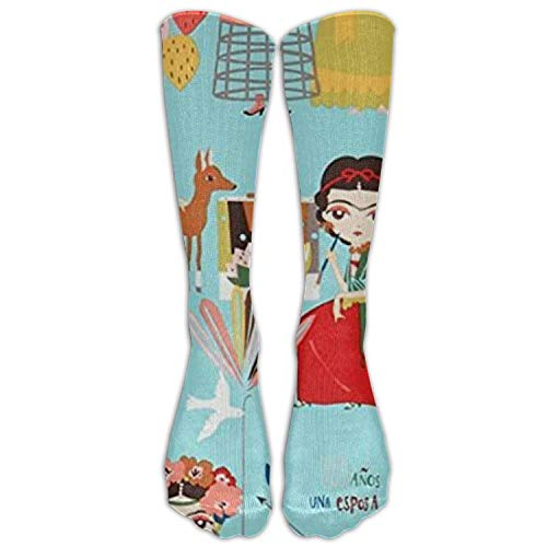 (Nicegift Frida Colorful Cactus Folklorico Women Graduated Compression Knee High Socks Fun Cool Casual Dress Socks for Men&Women 19.68 Inches)