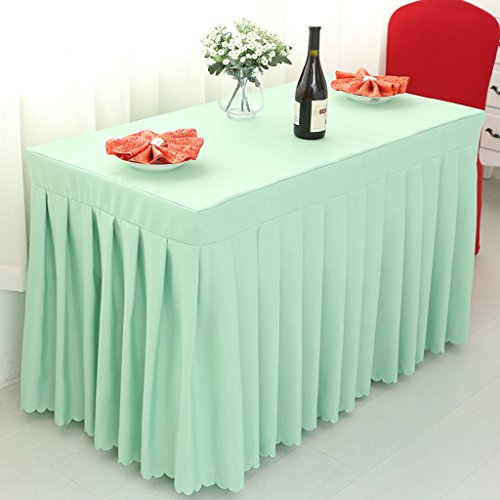 Nappes Fitted Table Skirt Cover Wedding Banquet With Top Topper Nappe - Pea Green ( Couleur : Pea green , taille : 60*120*75CM )