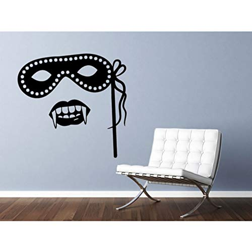 l Stickers Living Room Masquerade Mask and Vampire Fangs Wall Decal Waterproof Wallpaper 56x56cm ()