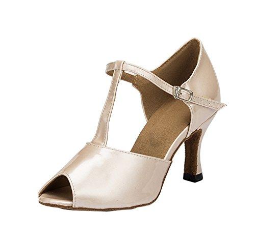 Minitoo femme coloré en cuir PU de Mariage Soirée danse-Chaussures Sandales-Latine Beige