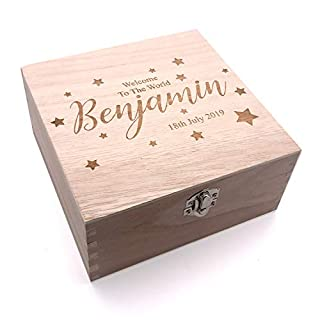 Personalised Baby Engraved Wooden Keepsake Box Gift Welcome to The World