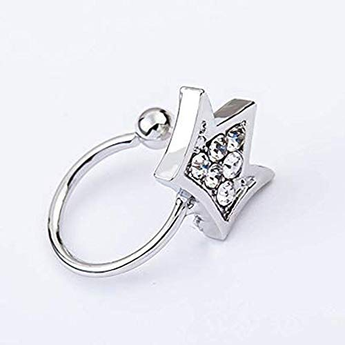 Skyllc® Stilvolle simulierte Diamant Krone Ohr Manschette verstellbar Ohrclip Modeschmuck Clip Ohrringe Silber