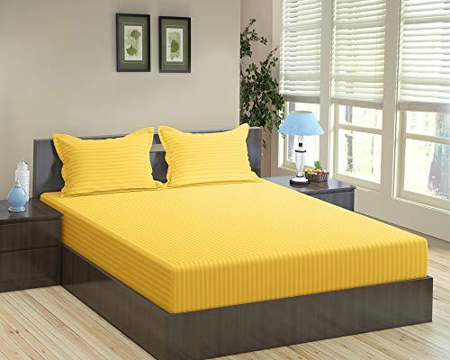 Trance Home Linen 100% Cotton 210TC Self Satin Stripe King Fitted Bedsheet with 2 Pillowcovers_Golden Yellow