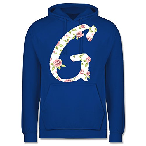 Anfangsbuchstaben - G Rosen - Männer Premium Kapuzenpullover / Hoodie Royalblau