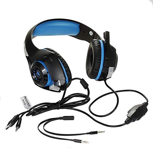 HoganeyVan GM-1 Komfortables Gaming-Headset für Xbox One PS4 Tablet-Handy Stereo-LED-Kopfhörer mit Hintergrundbeleuchtung und Mikrofon Blau - Mit Kopfhörer Geflochten Mikrofon