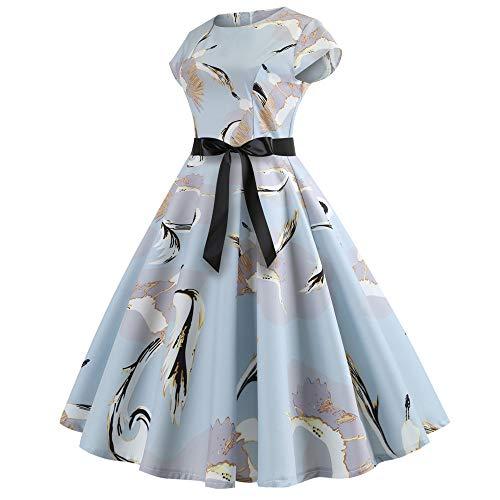 IZHH Damen Kleid Damen Vintage Kurzarm Oansatz Exquisite Drucke Schwan/Flora / Multicolor Printing Abendgesellschaft...