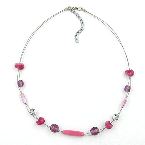 Gallay DS Kette, Glas, Flieder-rosa, Draht