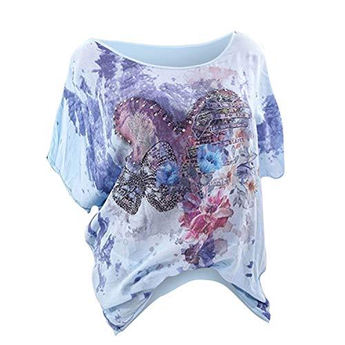 ♥ Loveso♥ Plus Size Damenbekleidung Sommer Schmetterling Print Shirt Rundhalsausschnitt Oberteile Kurzarm Tee Große Größen Lose Kleidung -