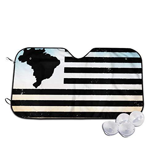Parasole per Auto, Brazil Map Flag Vintage USA Windshield Sunshade for Car Foldable Sunshade for Car SUV Trucks Minivans Sunshades Keeps Vehicle Coo