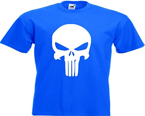 Motiv Fun T-Shirt Punisher Panikmacher Caos Skull Game Motiv Nr. 2961 Blau