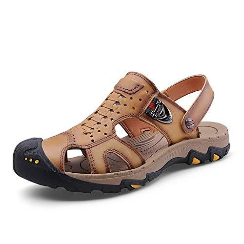 Hilotu sandali sportivi estivi per uomo moda pantofole da passeggio slip on style pu in pelle decor in metallo scarpe anticollisione con punta doppia (color : cachi, dimensione : 43 eu)