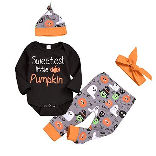 Top Herren Hats Kostüm - QinMM Kinder Halloween Kostüm Neugeborene Kinder Baby Mädchen Jungen Halloween Strampler Tops + Pants + Hat Outfits Kleidung für 0-24 Monate