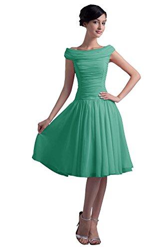 Dresstells, Robe courte de demoiselle d'honneur Robe de soirée de cocktail plissée vintage style année 50 en mousseline Vert