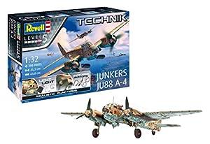 Revell- Stuka JUNKERS Ju-88 A-4 1: 32 Escala Technik Modelo Kit, Incluye iluminación LED Set & Motores eléctricos (00452), 45,3 cm (