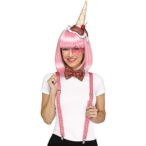 shoperama 3-teilige Kostüm-Zubehör Set Candy Zuckerwatte Popcorn EIS-Tüte Haarreif Fliege Hosenträger Glitzer Süßigkeiten, Variante:EIS (Eis Kostüm Für Erwachsene)