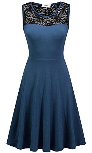 KorMei -  Vestito  - Collo a U  - Senza maniche  - Donna Blau