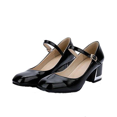 VogueZone009 Femme Pu Cuir Couleur Unie Boucle Carré à Talon Correct Chaussures Légeres Noir