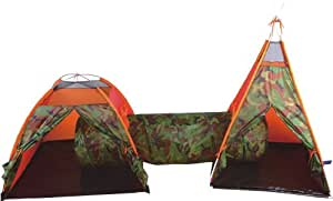 Camouflage Tunnel and Tent with Wigwam – Large boys and girls big play tent easy to put up – complete with bag and handle
