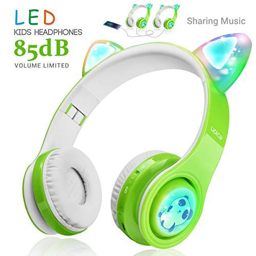 Kabellose Bluetooth Kopfhörer für Kinder Jugendliche ab 2 Mit LED Lichter Faltbarer Kindersicherheit Lautstärkebegrenzung Over Ear HiFi Stereo Kopfhörer mit Micphone für Mädchen Jungen (Grün)