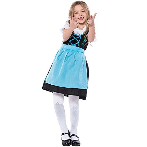 Deutsch Mädchen Bier Kostüm - LOLANTA Kinder Blaues Bier Mädchen Dirndl Oktoberfest Kostüm Germen Bayerisches Mädchen Kleid (110/122)