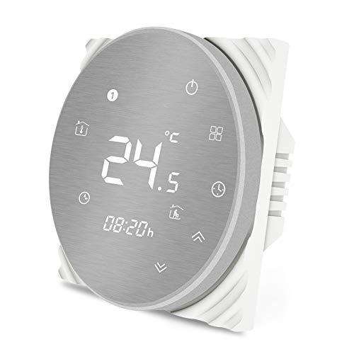 Termostato Smart MOES Regolatore di temperatura WiFi Pannello spazzolato in metallo Telecomando APP Smart Life per riscaldamento a pavimento ad acqua 5A Funziona con Alexa