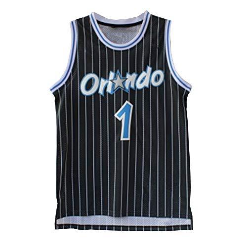 CURVEASSIST Basketball Trikots Orlando Magic #1 Hardway Retro Style Herren Atmungsaktiv ThrowbackBasketball Sommer Short Quick Dry Sportswear Schwarz-Black-S