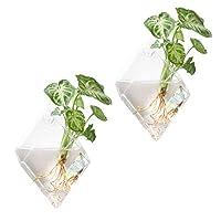 Mkouo 2 Pack Glass Hanging Wall Vase Plant Terrarium Flower Pot Planter, Diamond
