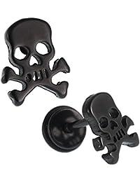 Falsa dilatación de color negro, con calavera, con tornillo, de acero inoxidable