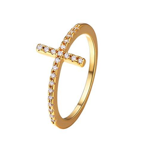 Suplight Damen Ring Zirkonia Kreuz Ring 18K vergoldet Bandring Partnerring Fingerring Schmuck für Hochzeit Verlobungsfeier 57(Gold)