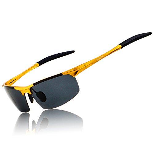 RONSOU Uomo Sport Al-Mg Polarizzati Occhiali da Sole Durevole per Driving Ciclismo Pesca Golf oro telaio/grigio lens