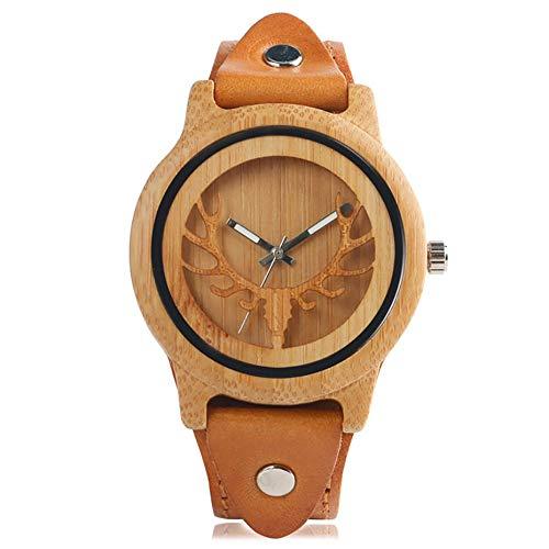 YLFDC Holzuhren PunkLederHolz Uhr männer Frauen elch Hirsch Muster Bambus armbanduhren Quarz Uhren