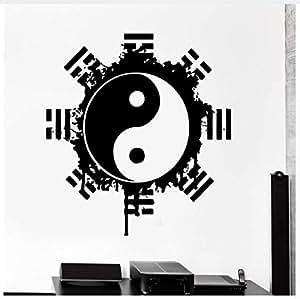 Autoadesivo della parete della decorazione della casa eco-compatibile per soggiorno Adesivo della parete del vinile Buddha Yin Yang Meditazione di yoga floreale Vinile 57 * 57 cm