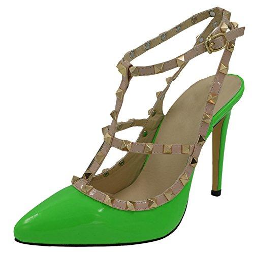 Oasap Femme Chaussure A Talons Hauts Rivet Décoration Talons Aiguilles Bout Fermé, Green EURO40/US9/UK7