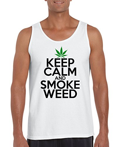 TRVPPY Herren Tank-Top Shirt Modell Keep Calm and Smoke Weed, Weiß, M
