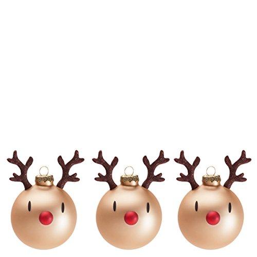 Hoptimist, 90012-95, Mini Rentier Weihnachtskugeln Rudolf, Glas, 3er-Set (Braun)