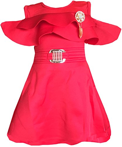 ALL ABOUT PINKS® Baby Girls Party Wear Frock Dress Baby Dresses Girls 1 Year Birthday Dress Baby Frocks 12-18 Months Baby Dresses 12-18 Months Baby Frocks (Red)