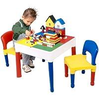 Liberty House - 5 en 1 Juego de mesa y dos sillas (superficie especial para juegos de bloques)